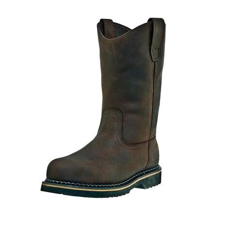 McRae Industrial Work Boots Mens Wellington Steel Toe Brown