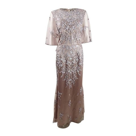 JS Collections Women's Embroidered Flutter Sleeve Gown (12, Mink/Nude)