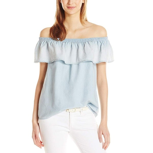 Joie Womens Medium Ruffled Cold-Shoulder Blouse Blue M