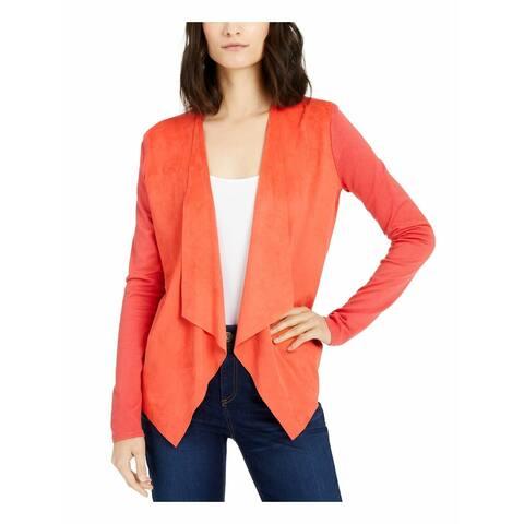 INC Women's Sweater Coral Orange Size XL Moleskin Topper Cardigan