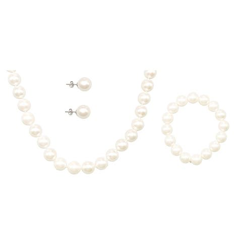 White Mother of Pearl Necklace Bracelet and Earring Set