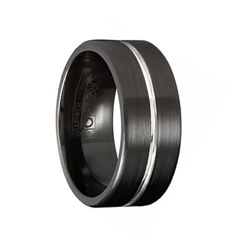 RYAN Torque Black Cobalt Flat Wedding Band Brushed Finish with Center Grooved Design by Crown Ring - 9 mm