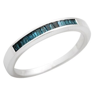 Brand New 0.22Ct Blue Color Baguette Diamond Channel Set Anniversary Eternity Ring