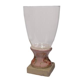 """12"""" Vintage Rose Antique-Style Pink Floral Hurricane Vase Candle Holder"""