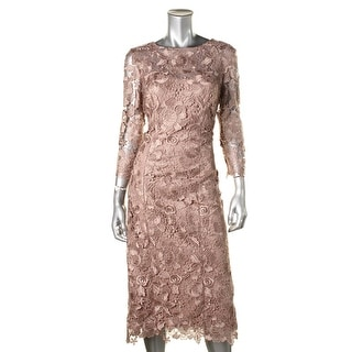 JS Collections Womens Lace Mid-Calf Cocktail Dress