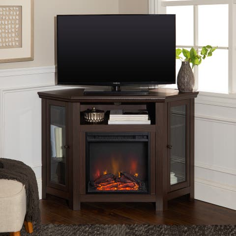 48-inch Corner 2-door Fireplace TV Stand Console - Espresso