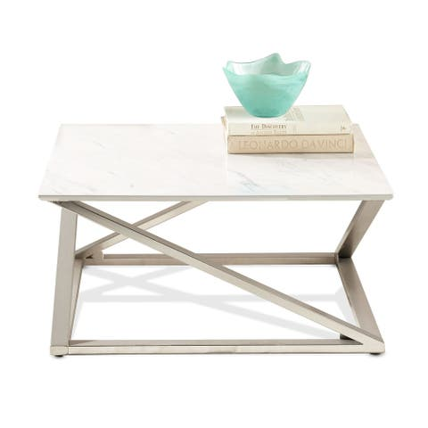 Silver Orchid Zilina Faux Marble Top Coffee Table