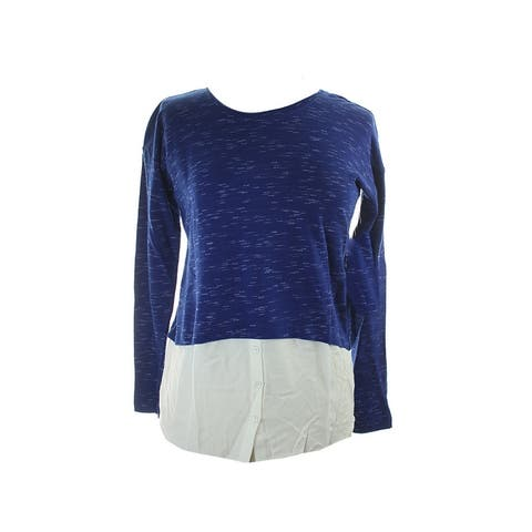 Kensie Blue Long-Sleeve Layered Sweatshirt XS