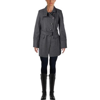 Kenneth Cole New York Womens Military Coat Wool Asymmetric