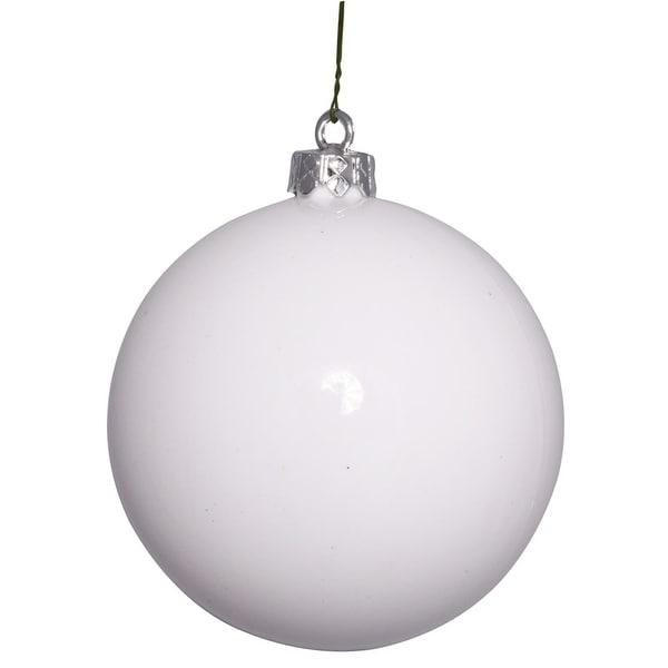 """Shiny Glamorous White UV Resistant Commercial Shatterproof Christmas Ball Ornament 4"""" (100mm)"""