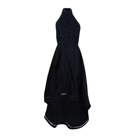 e76f3aaef8f Betsy   Adam Women s Lace Racerback High-Low Gown - Black