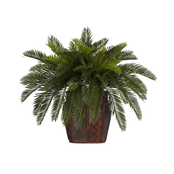 Nearly Natural Double Cycas with Vase Silk Plant Green