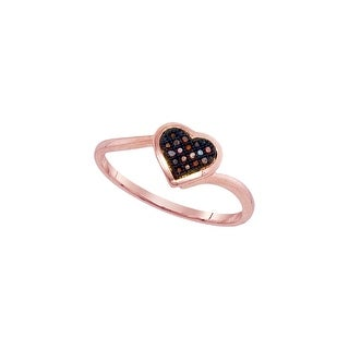 10kt Rose Gold Womens Round Red Colored Diamond Heart Love Cluster Fashion Ring 1/20 Cttw