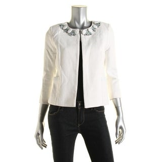 Dylan Gray Womens Tweed Embellished Open-Front Blazer - 2