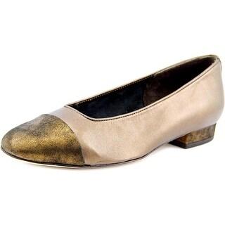 Vaneli Frankie Women N/S Square Toe Leather Bronze Flats