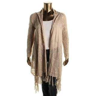 Cupio Womens Cardigan Sweater Fringe Drape