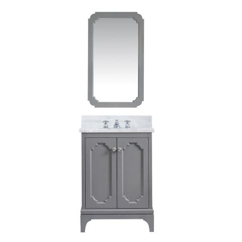 Queen Carrara White Marble Countertop Vanity with Mirror and Faucet