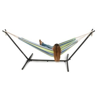 Belleze 10ft Double Hammock Stand with Carrying Bag, Portable Set, Oasis