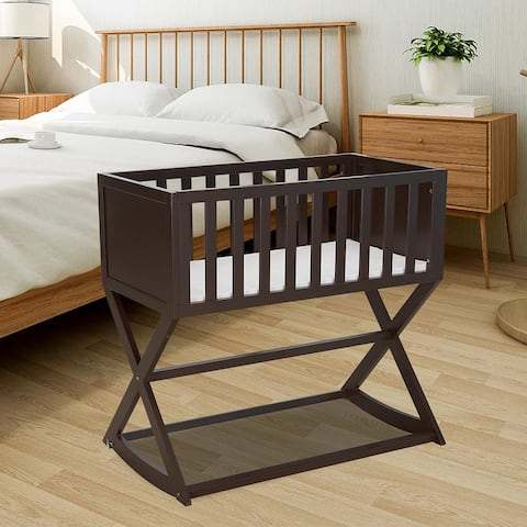 Kinbor Baby Cradle, Stationary and Rocking Bassinet, Handcrafted Elegant Wood Cradle with Mattress