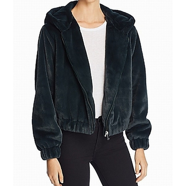 Bagatelle Deep Green Womens Size Large L Faux-Fur Hooded Jacket