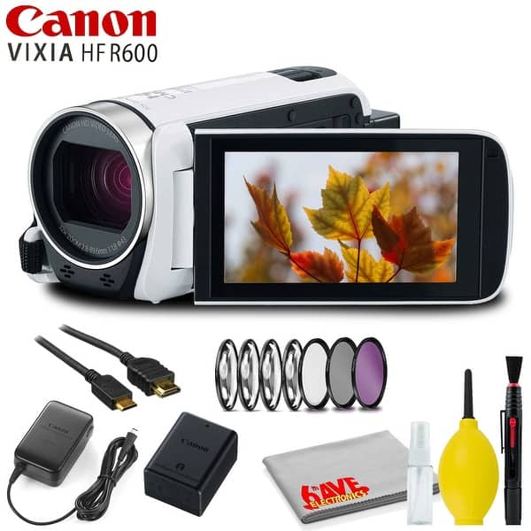 Shop Canon Vixia Hf R600 Full Hd Camcorder White With Filter Kit And Cleaning Kit Overstock 29441242