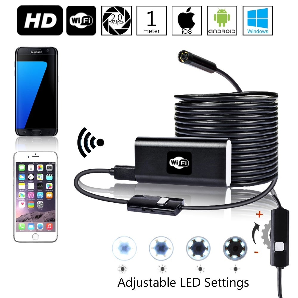 Indigi Waterproof Endoscope Borescope Wall Wifi Inspection Camera For Iphone Android 8x Adjustable Leds Overstock 14729992