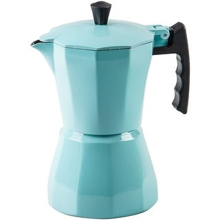 Palais Dinnerware Stovetop Espresso Maker - Aluminum Coffee Maker Moka Pot (Turquoise, 3 Demitasse Cups)