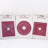 3 Bundle Nesting Dies Megan Elizabeth New Square Scallop Around Pink