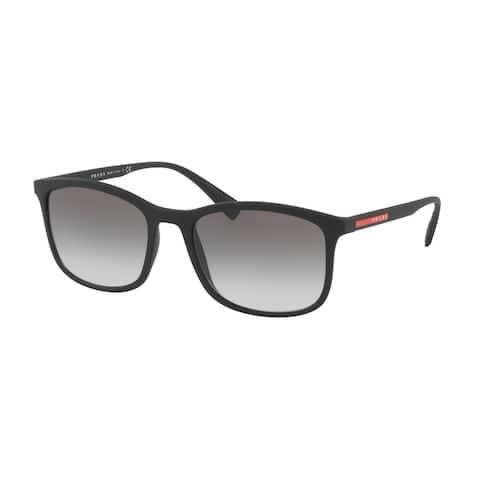 Prada Linea Rossa PS 01TSF DG00A7 57 Black Rubber Man Rectangle Sunglasses