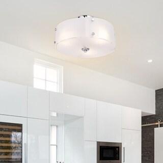Gymax 3-Light Brushed Chrome Finished Semi Flush Mount Three Flush Mount Ceiling Light