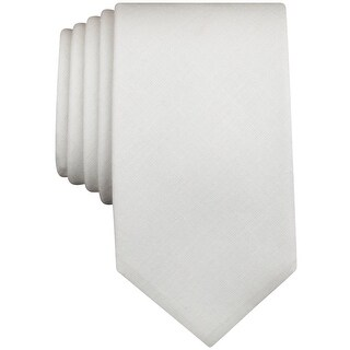 BAR III NEW White Carnaby Firth Solid Skinny Slim Mens Cotton Necktie