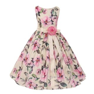 Kiki Kids Girls Pink Floral Print Stretch Taffeta Easter Dress (3 options available)