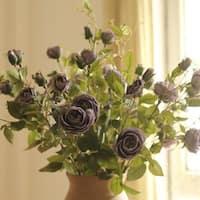 """RusticReach Silk Rose Bloom and Bud Stem in Purple 39"""" Tall"""