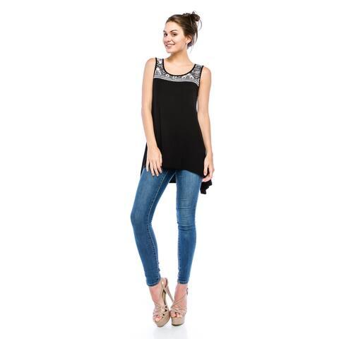 Simply Ravishing Women's Hi-Low Sleeveless Ethnic Print Tunic Top (Size: Small-3X)