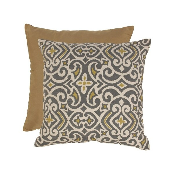 "23"" Graphite & Chartreuse Damask Pattern Square Floor Pillow"