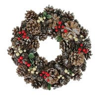 "13.25"" Red Berries and Pine Cones Artificial Christmas Wreath - Unlit - green"