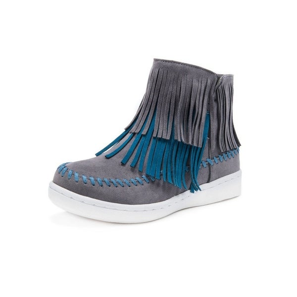 Muk Luks Boots Womens Linda Ankle Fringe Water Resistant Gray