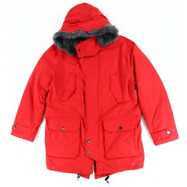 1da81d160 Shop Nautica NEW Bright Red Mens Size Large L Faux-Fur Quilted Parka ...