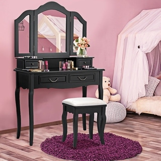 Gymax Vanity Set Makeup Table Dresser Tri Folding Mirror 4 Drawers with Stool Black