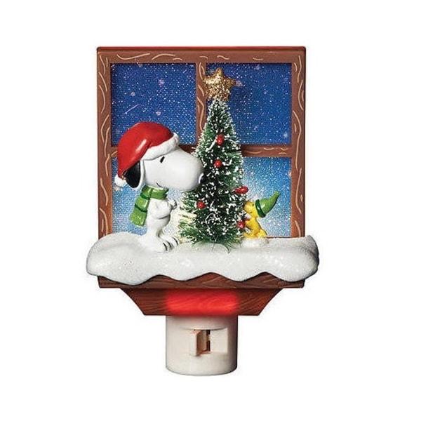 "6"" Peanuts Snoopy and Woodstock Christmas Tree Holiday Night Light"