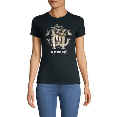 Roberto Cavalli Women's Cotton Crew Neck Snake Logo T-Shirt Navy Blue