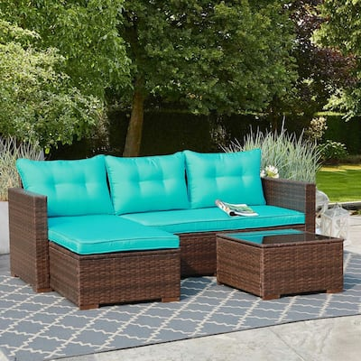 3-piece Wicker Sectional Sofa Outdoor Furniture Set with Coffee Table
