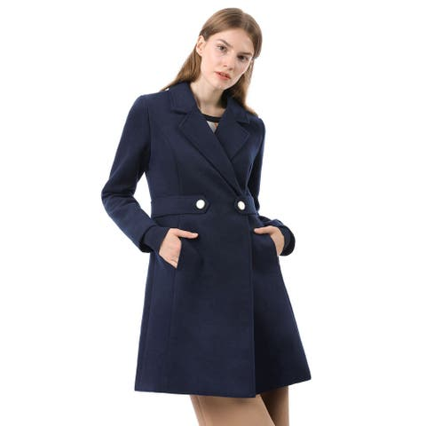 Unique Bargains Women's Buttoned Notch Collar Long Coat - Blue