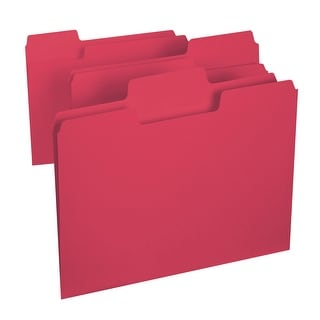 Smead 1/3 Cut Colored Super Tab File Folder, Letter, 11 L x 8-1/2 W in, 3/4 in Expansion, Red, Pack of 100