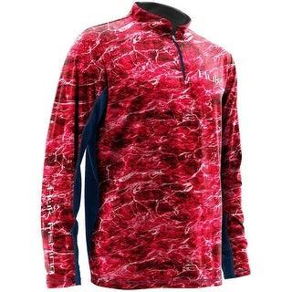 Huk Men's Element Icon Red Medium 1/4 Zip Long Sleeve Shirt