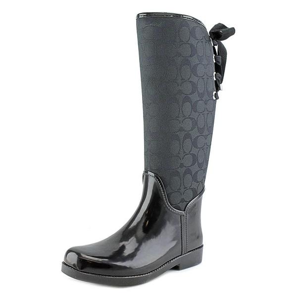Shop Coach Tristee Women Round Toe Canvas Black Rain Boot