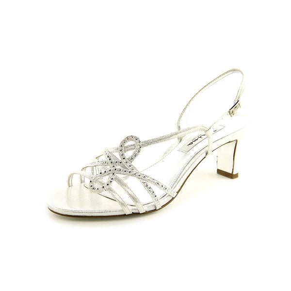 Nina Garland Women Open Toe Canvas Silver Sandals