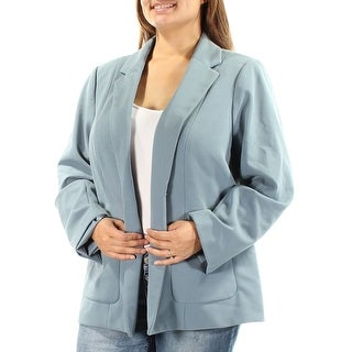 CALVIN KLEIN Womens Blue Pocketed Suit Wear To Work Jacket Plus  Size: 18W