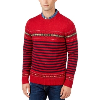 Tommy Hilfiger Mens Dominick Pullover Sweater Ribbed Trim Pattern