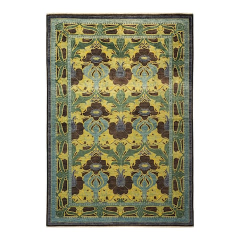 """Arts & Crafts, One-of-a-Kind Hand-Knotted Area Rug - Black, 5' 9"""" x 8' 9"""" - 5' 9"""" x 8' 9"""""""